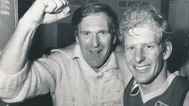 A delighted Ian Hampshire (left) with teammate Simon Beasley after a big Footscray victory.