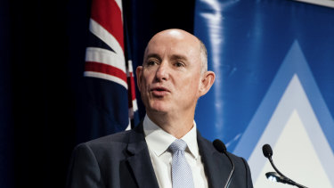 """Quiet Australians."" Assistant Stuart Robert as he addressed a finance conference in Sydney this week."