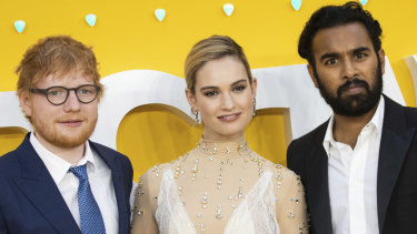 Singer Ed Sheeran (left) with actors Lily James and Himesh Patel at the  premiere of Yesterday in London.