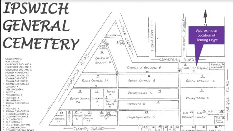 Map of Ipswich cemetery showing where Joseph Fleming's underground crypt is located.