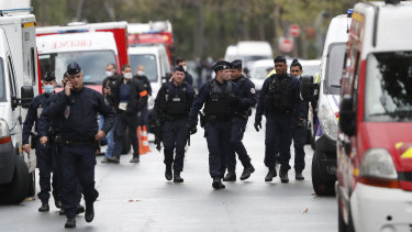 French police patrol Paris after the attack near the offices of Charlie Hebdo.
