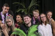 Director Declan Green (centre) with cast members, from left, Patrick Durnan Silva, Michelle Brasier , Georgina Naidu, George Lingard, Belinda McClory and Emily Milledge.