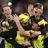 Meg Lanning's Australian cricket team celebrate winning the Twenty20 World Cup.