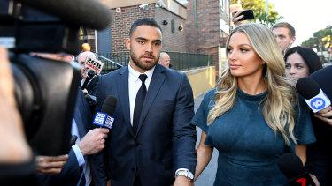 Rebuilding: Walker and partner Alexandra Ivkovic leave Manly Court.