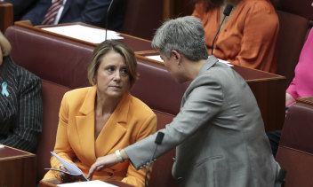 Senator Kristina Keneally and Labor's Senate Leader Penny Wong.