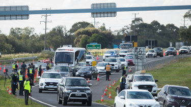 Motorists at a checkpoint streaming towards Geelong on Thursday.