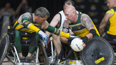 Jeff Wright of Australia in action during the Wheelchair Rugby game against New Zealand at the Invictus Games.