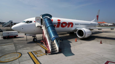 A grounded Lion Air Boeing 737 Max 8 aircraft sits on the tarmac at terminal 1 of Soekarno-Hatta International Airport in Cenkareng, Indonesia.
