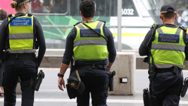 Protective Service Officers on patrol at Southern Cross Station.