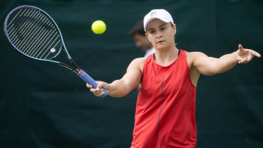 Practice makes perfect ... Ash Barty on the practice courts at Wimbledon.