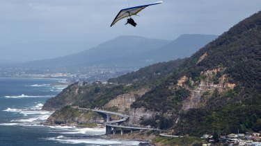 Hang-gliding at Bald Hill in the northern Illawarra, where house prices have grown.