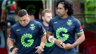 Josh Papalii and Sia Soliola are two of three Canberra Raiders players who refused to sign the vaccination waiver.