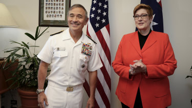 Harry Harris travelled to Australia in March to meet officials, including Minister for Defence Marise Payne.