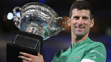 Novak Djokovic with the Norman Brookes Challenge Cup after winning the Australian Open earlier this year.