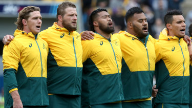 Michael Hooper of the Wallabies sings the national anthem with his team ahead of the Bledisloe Cup match on October 11, 2020 in Wellington.