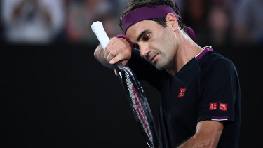 Roger Federer struggled with injury during the match.