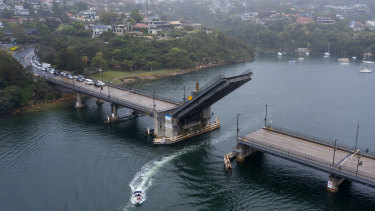 Traffic queued to exit the northern beaches as the Spit Bridge was raised on Saturday afternoon.