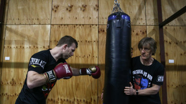 Fighting fit: Jeff Horn with his trainer, Glenn Rushton, in Bendigo this week.