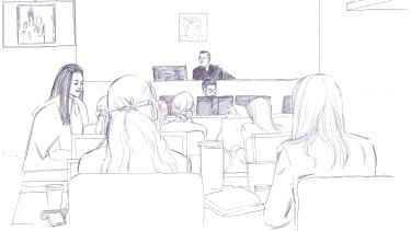 A courtroom sketch.