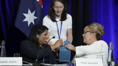 Karina Okotel and Teena McQueen cast their ballots for the vice-presidency of the Liberal Party.