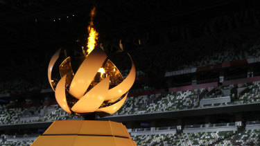 The cauldron during the closing ceremony of the Tokyo Olympics.