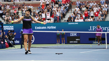 The moment: Bianca Andreescu reacts after winning match – and championship – point against Serena Williams.