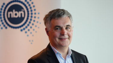 NBN Co CEO Stephen Rue. NBN boosted revenue by 39 per cent for the half year to December 31.