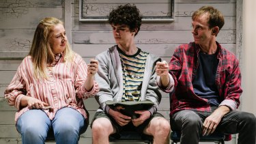 """Louise Brehmer, Matthew Ianna and Bryan Probets in """"The Holidays"""", which wraps up Queensland Theatre's 2020 season."""