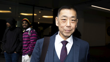 Ernest Wong outside the ICAC  hearing in August.
