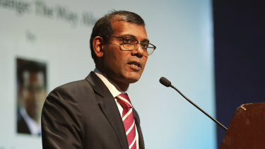 Former Maldives president Mohamed Nasheed delivers a lecture on climate change in New Delhi, India, in 2019.