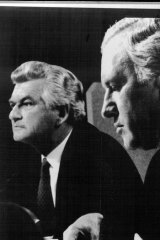"""The expected rout of Mr Peacock was not to be."" P.M. Bob Hawke flanked by leader of the Liberal Party, Andrew Peacock at the debate."