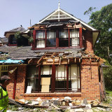 Storm damage to a house on Dinmore Street in Castle Hill.