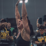 Camilla Fogagnolo celebrates after winning the 2019 Arnold Sports Festival Strongwoman Championship.