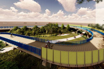 Artist impression of a new bicycle bridge proposed for Woolloongabba.