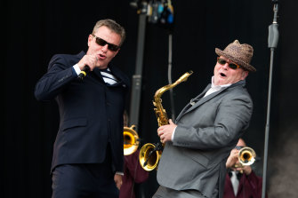 Suggs (left) and saxophnist Lee Thomson of Madness.