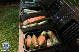 Three people have been charged after more than 100 kilograms  of ice was allegedly found in the tray of a ute in Sydney this week.