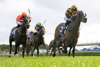 Probabeel salutes in the group 1 Epsom Handicap with Kerrin McEvoy on board.