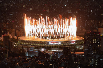 Fireworks light up the sky at the Tokyo 2020 opening ceremony.