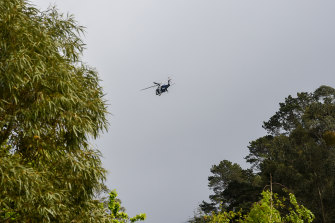 A helicopter in the sky over Warburton.