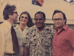 Graham Freudenberg, Patti Warne, Sir Maori Kiki (deputy Prime Minister PNG) and John Mant (right), 1975.