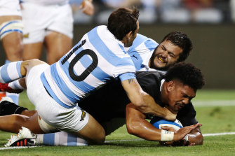 Ardie Savea breaks the shackles for the All Blacks with the first try of the second half.