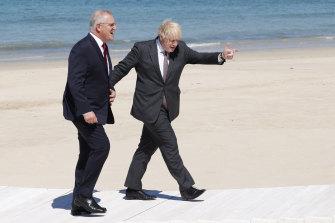 Prime Minister Scott Morrison meets Prime Minister Boris Johnson at the G7 summit in Britain.