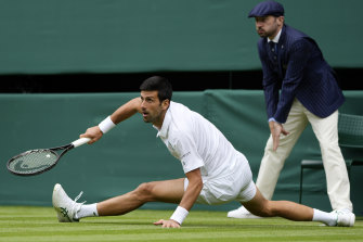 Novak Djokovic during his second-round win over Kevin Anderson.