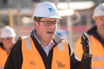 Premier Daniel Andrews speaking to media on Tuesday.