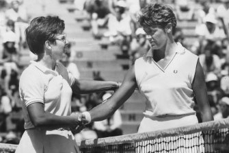 Billie Jean King, left, is congratulated by  Margaret Court on her win at Kooyong in 1968.