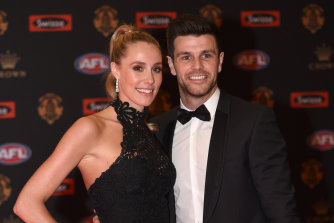 Trent and Brooke Cotchin at the Brownlow.