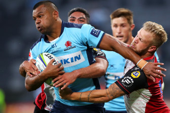 Kurtley Beale asked plenty of questions of the Lions' defence at Bankwest Stadium.