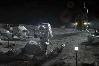 A NASA illustration depicting Artemis astronauts on the moon.