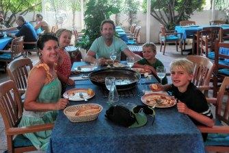 Jane Saville, with her family in Spain. From left: Jane, Zoe, Matt White, Kobi, Jordi.