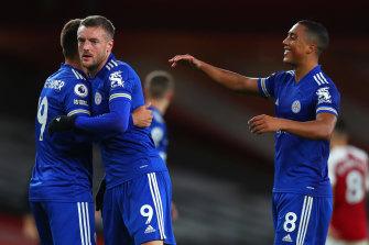 Cengiz Uender, Jamie Vardy and Youri Tielemans celebrate Leicester's win.